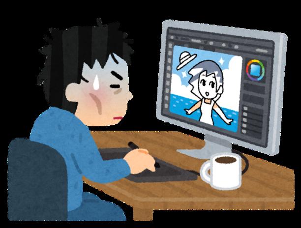 ヘトヘトになった顔で一生懸命イラストを描いている男性イラストレーター